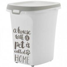 Контейнер для хранения корма Moderna Pet Wisdom Trendy Story, бело-серый, 37,5 х 46,3 х 51,3 см
