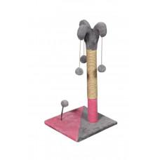 Когтеточка (дряпка) Мур-Мяу Арлекин в джутовой веревке Серо-розовая