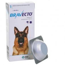 Жевательная таблетка Bravecto от блох и клещей для собак крупных пород от 20 до 40 кг, 1000 мг
