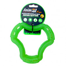 Игрушка AnimAll Fun кольцо 6 сторон для собак, люминесцентная, 15 см, зеленая