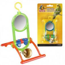 Игрушка Flamingo Mirror Bell для попугаев, зеркало с колокольчиком и жердочкой, 12х7х16.5 см