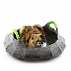 Корзина-лежак для животных Digitalwool Деко с подушкой 55х55х12см Серый