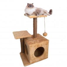 Домик-когтеточка с полкой Мяус Маша для кошки 46х36х80 см Бежевый