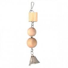 Игрушка Flamingo Wooden Blocks для птиц, подвеска с деревянными блоками, 27.5 см