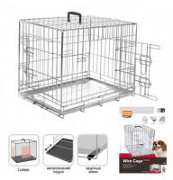 Клетка Flamingo Wire Cage для собак, двухдверная, с ручкой и выдвижным поддоном, 8.6 кг, 77х47х54 см