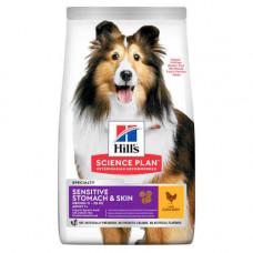 Сухой корм Hills Science Plan Adult Sensitive Stomach & Skin Medium для собак с курицей, 2.5кг