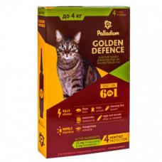 Капли на холку Palladium Golden Defence от блох, вши, клещевые заболевания для кошек до 4 кг, 0,5 мл