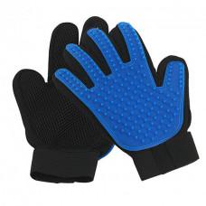 Пара перчаток для вычесывания шерсти True Touch Черный с синим