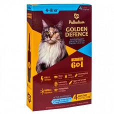 Капли на холку Palladium Golden Defence от блох, вши, клещевые заболевания для кошек от 4 до 8 кг, 1,0 мл