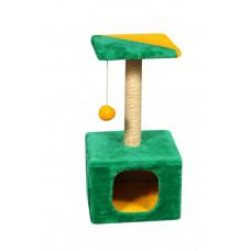 Домик-когтеточка (дряпка) Мур-Мяу КотэДж в джутовой веревке Зелено-желтый