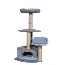 Домик-когтеточка (дряпка) Мур-Мяу Лапка в джутовой веревке Серо-голубой