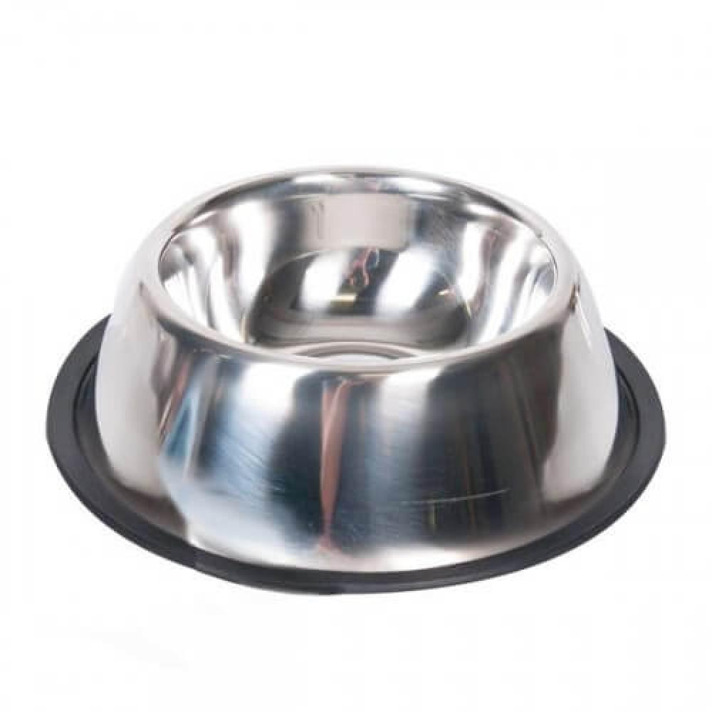 Миска Flamingo Dish Rubber Rim для собак с резиновым ободком, нержавейка, 13см, 470мл