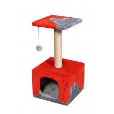 Домик-когтеточка (дряпка) Мур-Мяу КотэДж в джутовой веревке Серо-красный