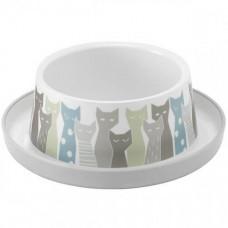 Миска Moderna Trendy Dinner Maasai для кошек, 350мл, d17см, серо-белая