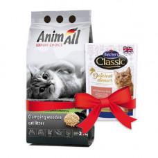 Древесный наполнитель AnimAll для кошек, 2.1 кг + подарок