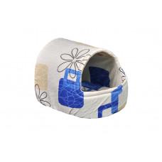 Домик-лежак (лежанка) для кошек и собак Мур-Мяу Комфорт Бежевый с синим