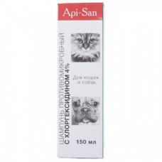 Шампунь c хлоргексидином 4% Api-San для лечения и профилактики заболеваний кожи для собак и котов, 150мл