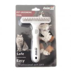 Расческа-грабли AnimAll Groom для животных, Серая