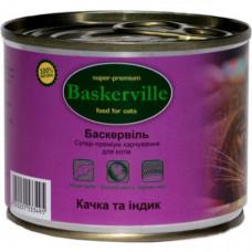 Влажный корм Baskerville для котов, утка и индюк, 200 г