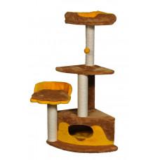 Домик-когтеточка (дряпка) Мур-Мяу Лапка в джутовой веревке Коричнево-желтый