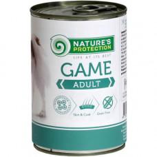 Консерва Natures Protection Adult Game для взрослых собак весом от 1 до 30 кг, 400гр
