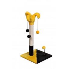 Когтеточка (дряпка) Мур-Мяу Арлекин в джутовой веревке Желтый с темно-коричневым
