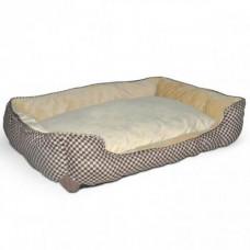 Лежак K&H Self-Warming Lounge Sleeper самосогревающийся, для собак и котов, зеленый с желто-коричневым, S