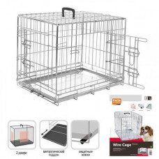 Клетка Flamingo Wire Cage для собак, двухдверная, с ручкой и выдвижным поддоном, 17 кг, 120х76х82 см