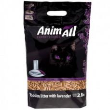 Древесный наполнитель туалетов для кошек AnimAll с ароматом лаванды 2.8 кг (39866)