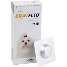 Жевательная таблетка Bravecto от блох и клещей для собак мелких пород от 2 до 4,5 кг, 112,5 мг