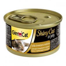 Влажный корм GimCat Shiny Cat для кошек, с тунцом и креветками и солодом, 70 г