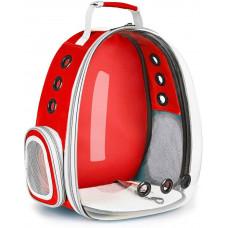 Прозрачный рюкзак Lollimeow для переноски кошек и домашних животных Красный (DY-SN043)