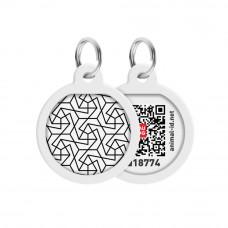 Адресник WAUDOG Smart ID с QR паспортом, премиум, рисунок Геометрия , диаметр 25 мм