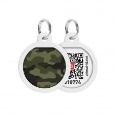Адресник WAUDOG Smart ID с QR паспортом, премиум, рисунок Камо зелёный , диаметр 25 мм