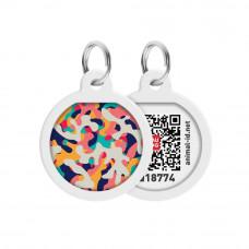 Адресник WAUDOG Smart ID с QR паспортом, премиум, рисунок Камо разноцветный , диаметр 25 мм