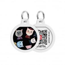 Адресник WAUDOG Smart ID с QR паспортом, премиум, рисунок Коты , диаметр 25 мм