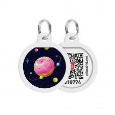 Адресник WAUDOG Smart ID с QR паспортом, премиум, рисунок Вселенная пончиков , диаметр 25 мм