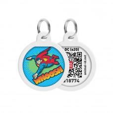 Адресник для собак и котов металлический WAUDOG Smart ID c QR паспортом, рисунок