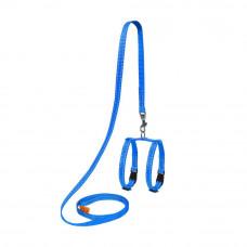 Шлея Dog Extremе нейлон. регул. с поводком для мор.свинок, декор.крыс (ш. 10мм, В:12-22см), голубой