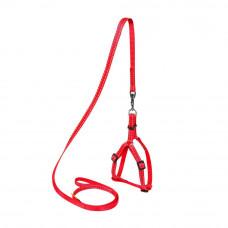 Шлея Dog Extremе нейлон. регул. с поводком для котов, кроликов и мор.свинок (ш. 10мм, В:28-40см), красный