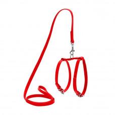 Шлея WAUDOG GLAMOUR с поводком (ширина 9мм, А:20-30см, В:30-40см), красный