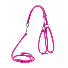 Шлея круглая WAUDOG GLAMOUR №1, с повод для кош, мел соб ш 6мм, розовый