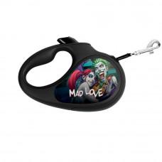 Поводок-рулетка WAUDOG с рисунком Сумасшедшая любовь , размер XS, до 12 кг, 3 м, черный