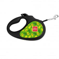 Поводок-рулетка WAUDOG с рисунком Авокадо , размер S, до 15 кг, 5 м, черный