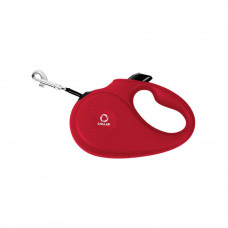 Поводок-рулеткаCoLLaR для собак, размер M, 25 кг, 5 м, лента, красный
