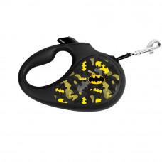 Поводок-рулетка WAUDOG с рисунком Бэтмен Узор , размер L, до 50 кг, 5 м, черный