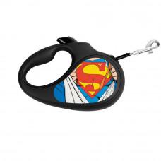 Поводок-рулетка WAUDOG с рисунком Супермен Герой , размер L, до 50 кг, 5 м, черный