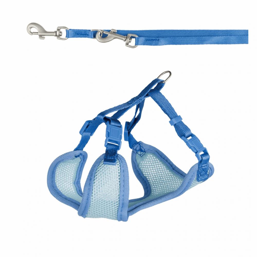 Шлейка с поводком для кошек Trixie нейлон «Soft» (синяя)