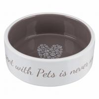 Миска д/собак Pet's Home , 0.3 л/ 12 см,керамика, кремовая/бежевая