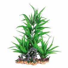 Растение пластик. на каменной подложке 28см зеленое